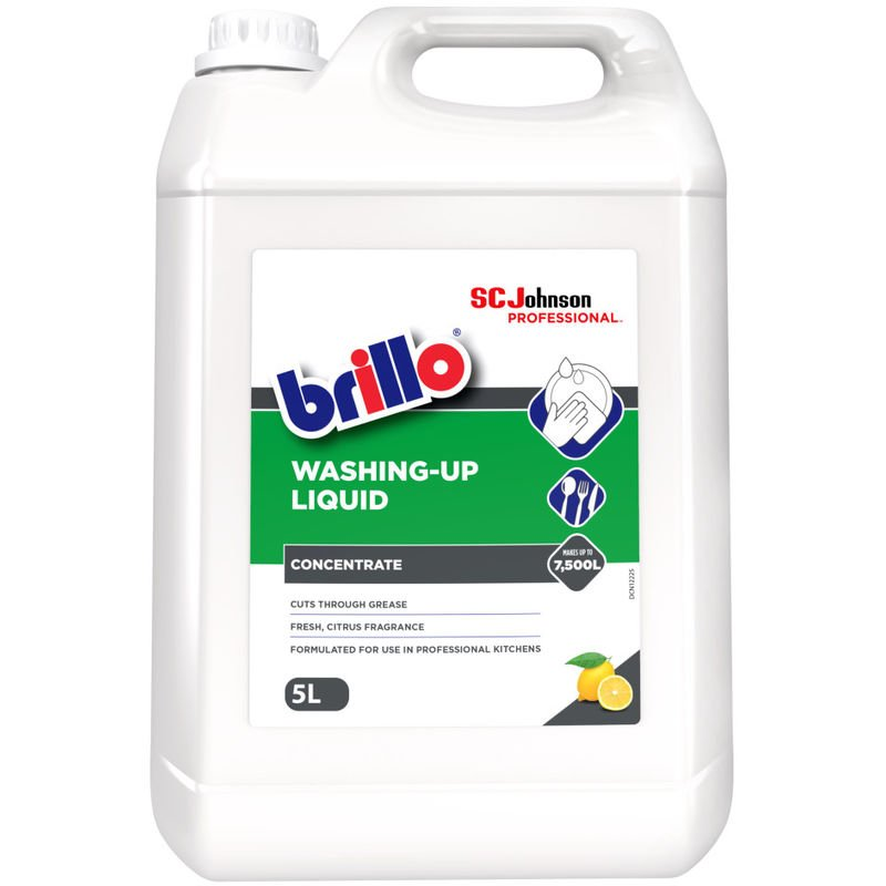 Image of 5 Litres Washing Up Liquid Formulated for Professional Kitchens - Brillo