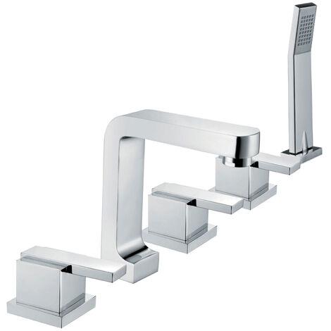 5-Loch-Badewannenarmatur aus verchromtem Messing im modernen Stil mit Handbrause mit hohem Strahl