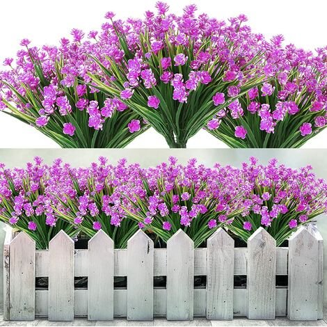 """main image of """"5 lots of artificial flowers plastic for outdoor, artificial plants to hang, garden decoration, wedding (red purple)"""""""