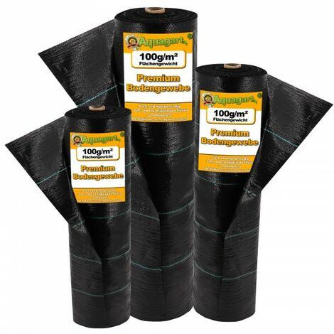 5 m² tissu de sol, bâche anti-mauvaises herbes, bâche de paillage, 100 g, 1 m de large, noir