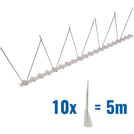 5 mètre pics anti pigeons 1 rangées en polycarbonate - solution de qualité pour contrôle des oiseaux