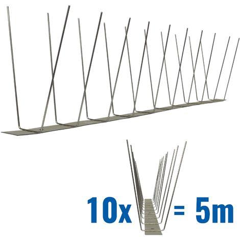 5 mètre pics anti pigeons 2 rangées V2A Standard - solution de qualité pour contrôle des oiseaux base d'acier inoxidable de contrôle des oiseaux