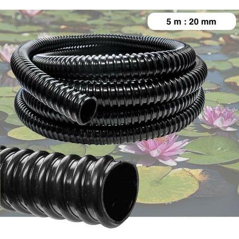 5 mètres tuyau 20 mm PVC souple pour étangs ou bassin - Noir