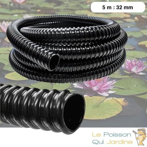 5 mètres tuyau 32 mm PVC souple pour aquarium ou bassin - Noir
