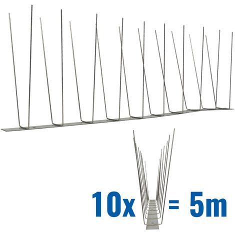 5 metros de Púas anti-gaviotas V2A -Standard con base de acero inoxidable - 2-hileras de Púas anti-gaviotas la solución de calidad para el control de aves
