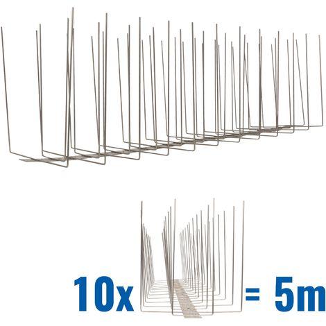 5 metros de Púas anti-gaviotas V2A -Standard con base de acero inoxidable - 4-hileras de Púas anti-gaviotas la solución de calidad para el control de aves