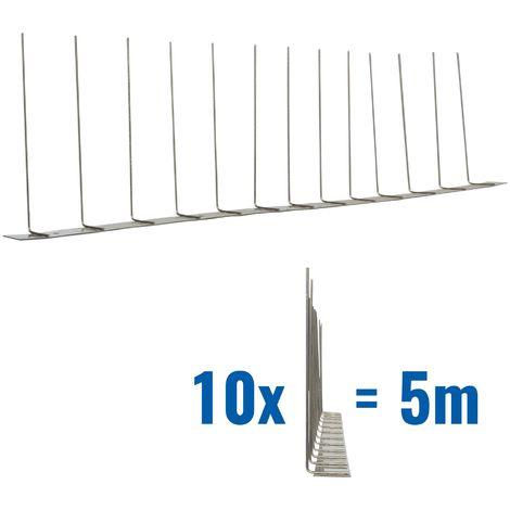 5 metros de Púas anti-gaviotas V2A -Titant con base de acero inoxidable - 1-hileras de Púas anti-gaviotas la solución de calidad para el control de aves