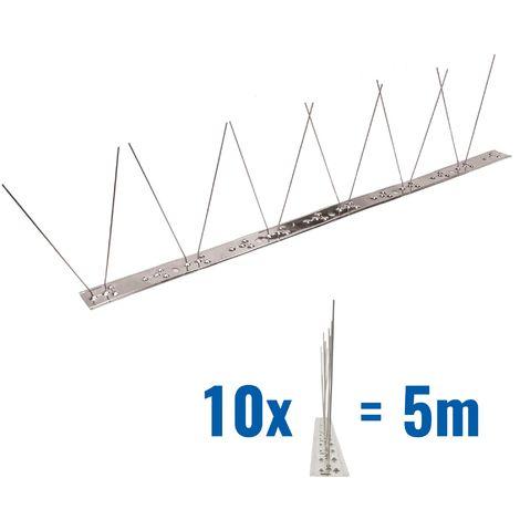 5 metros de Púas antipalomas V2A con base de Acero inoxidable flexible - 1-hileras de Púas antipalomas la solución de calidad para el control de aves