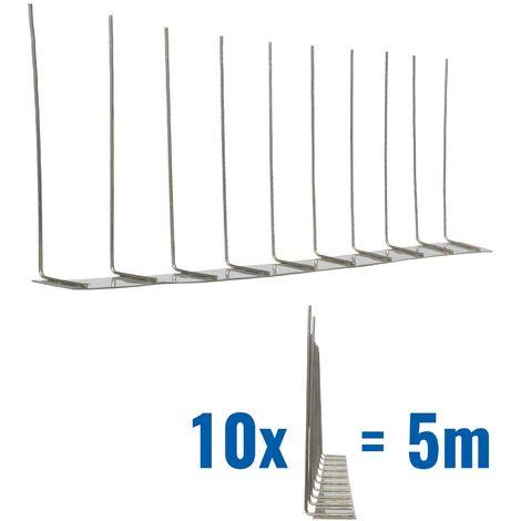 5 metros de Púas antipalomas V2A-Standard con base de acero inoxidable - 1-hileras de Púas antipalomas la solución de calidad para el control de aves