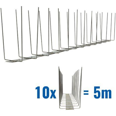 5 metros de Púas antipalomas V2A-Titan con base de acero inoxidable - 2-hileras de Púas antipalomas la solución de calidad para el control de aves