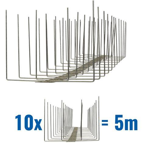 5 metros de Púas antipalomas V2A-Titan con base de acero inoxidable - 4-hileras de Púas antipalomas la solución de calidad para el control de aves