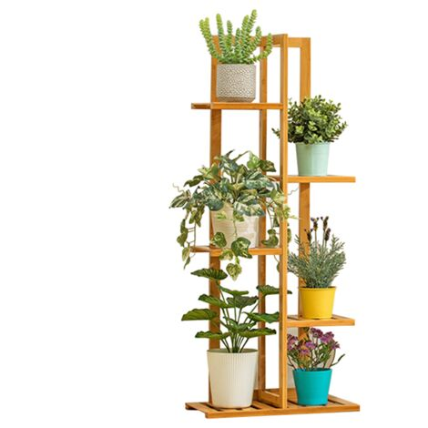5 niveles maceta de madera planta soporte estante exhibición jardín decoración estante interior Sasicare