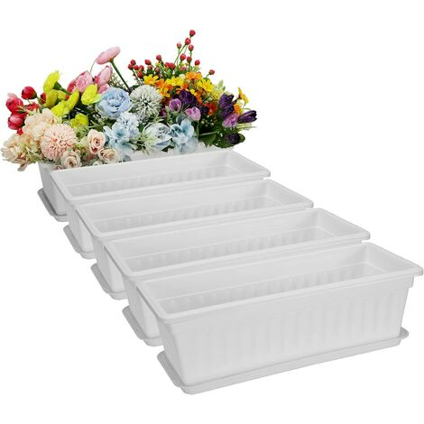 """main image of """"5 Pack 17 Inches White Flower Window Box Plastic"""""""