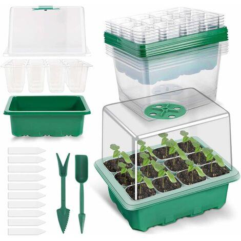 5 Pack Bac à Semis, Plateaux de Culture avec Couvercle Mini Serre pour Semis pour Germination, Culture des Plantes Fleurs (12 cellules par Plateau)