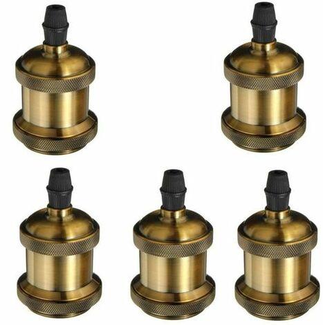 5 Pack Edison Douille Vintage E27 Adaptateur De Lampe Rétro Vintage Lustre Sans Fil En Cuivre Céramique à L'intérieur 110-240V
