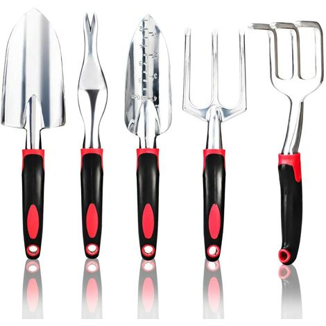 5 pack Ensemble d'outils de jardin Kit d'outils de jardinage Kit de plantation à la main en alliage d'aluminium Transplantation extérieure pour jardinier avec truelle, transplanté, désherbeur (rouge)