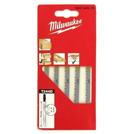 5 Pack MILWAUKEE jig saw blades wood / PVC 75 mm tooth 4mm 4932346078