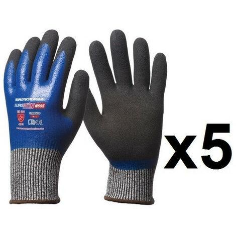 5 paires de gants HPPE double enduction nitrile tout enduit N555 EuroCut - plusieurs modèles disponibles
