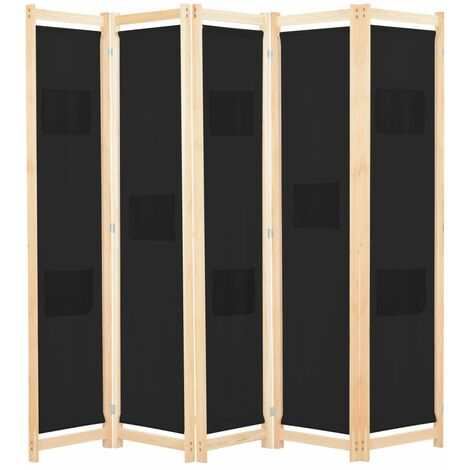 5-Panel Room Divider Black 200x170x4 cm Fabric