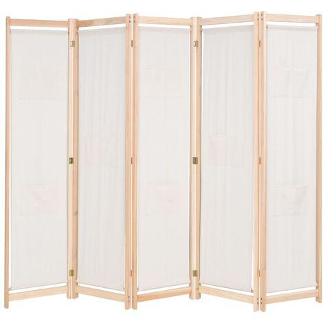 5-Panel Room Divider Cream 200x170x4 cm Fabric