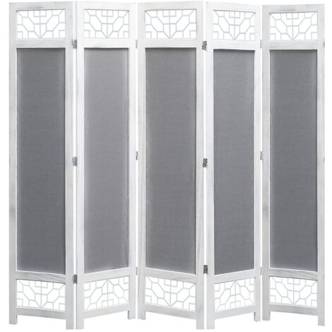 5-Panel Room Divider Grey 175x165 cm Fabric