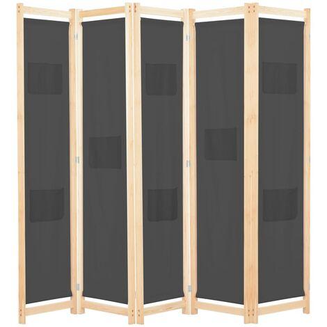 5-Panel Room Divider Grey 200x170x4 cm Fabric