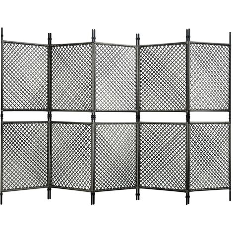 5-Panel Room Divider Poly Rattan Anthracite 300x200 cm
