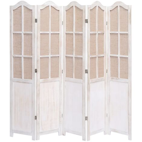 5-Panel Room Divider White 175x165 cm Fabric