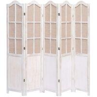 5-Panel Room Divider White 175x165 cm Fabric