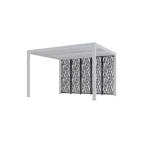 5 panneaux moucharabieh en acier épaisseur 1,0 mm finition époxy gris anthracite pour côté 3,60 m pour pergola bioclimatique PER 3630 BI et PER 3660 BI