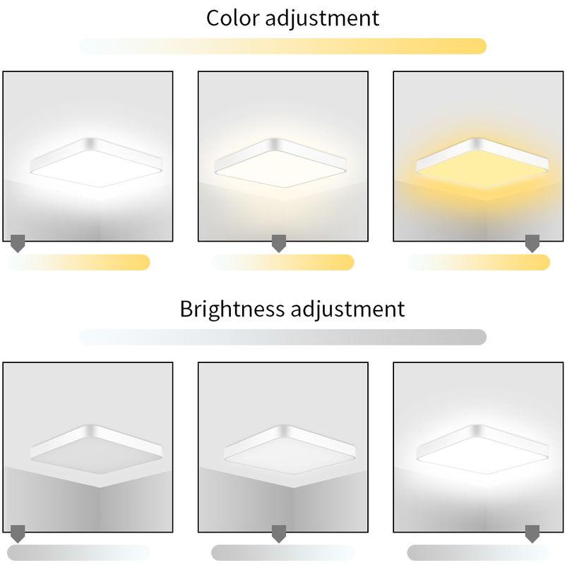 Hommoo - 5 PCS 36W Ultra Slim Square LED Niedrige Deckenleuchte Badezimmer Küche Wohnzimmer Lampe Tageslicht / Warmweiß Dimmbar LLDUK-MC0003603X5