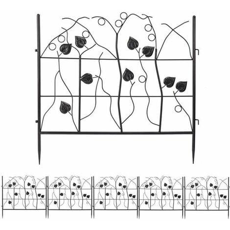 5 PCS Clôture Jardin Extérieur - Bordures Décoratives Grille de Protection Fer Forgé Motif Paysage Portillon de Jardin