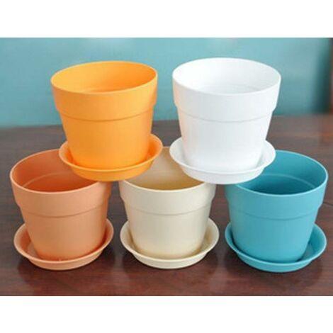 5 pcs Coloré Mini résine Plastique Pots de Plantes avec des soucoupes, Pot de Fleur de Jardin de la Maison, diamètre supérieur 9,5 cm, Hauteur 9 cm, diamètre inférieur 6,5 cm