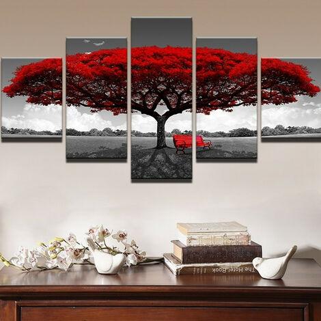 5 Pcs / ensemble Moderne Toile Peinture Décor Rouge Arbre Art Toile Peinture À L'huile Image Imprimer Sans Cadre