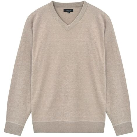 5 pcs Men's Pullover Sweaters V Neck Beige L