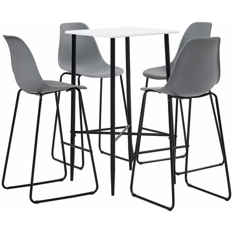 5 Piece Bar Set Plastic Grey