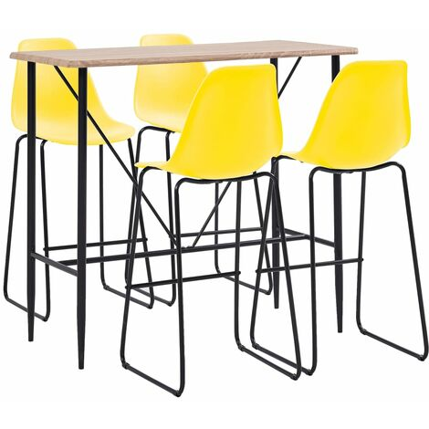 5 Piece Bar Set Plastic Yellow