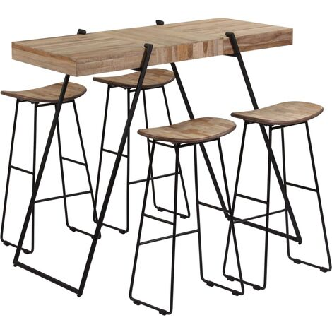 5 Piece Bar Set Reclaimed Teak - Brown