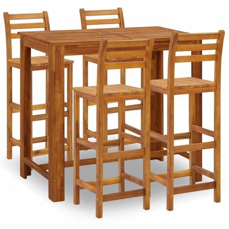 5 Piece Bar Set Solid Acacia Wood