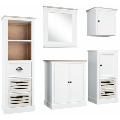 5 Piece Bathroom Furniture Set Solid Wood White