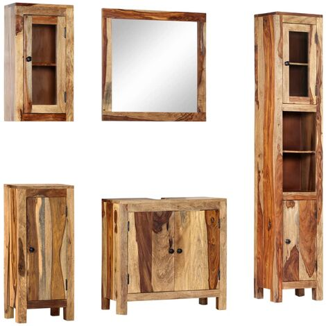 5 Piece Bathroom Set Solid Sheesham Wood