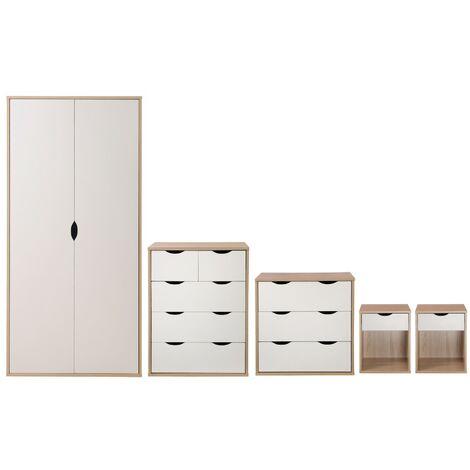 5 Piece Bedroom Furniture Set Wardrobe Chest Drawers Bedside Sonoma Oak & White
