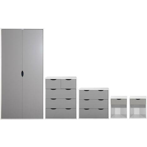 5 Piece Bedroom Furniture Set Wardrobe Chest Drawers Bedside White & Grey