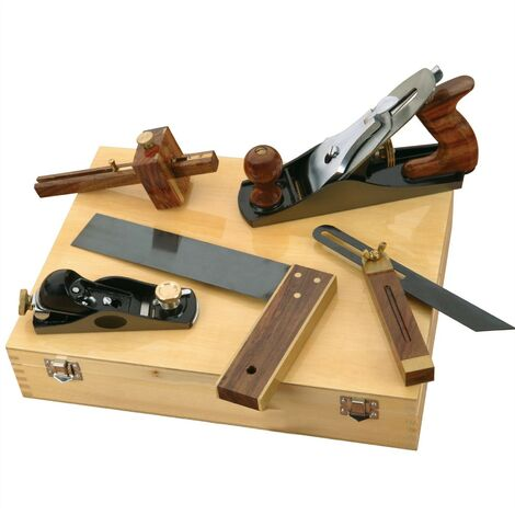 5 Piece Carpenters Woodworking Tool Kit Planes Try Square Bevel + Wooden Case