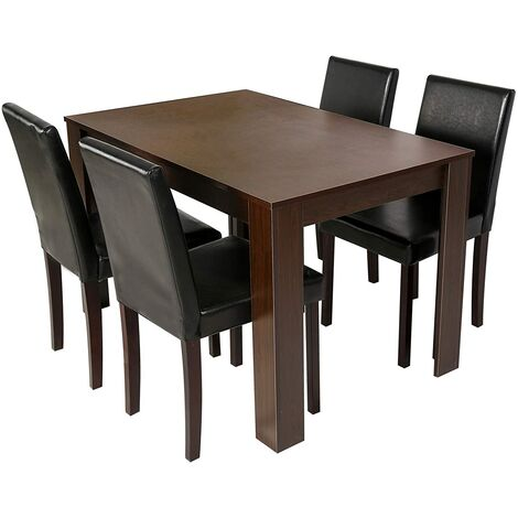 5-Piece Dining Room Set 4-Seater Dining Table with 4 Chairs, Table with Black PU Leather Seats