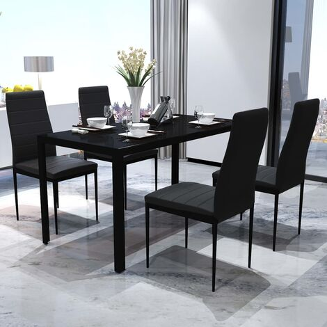 5 Piece Dining Table Set Black