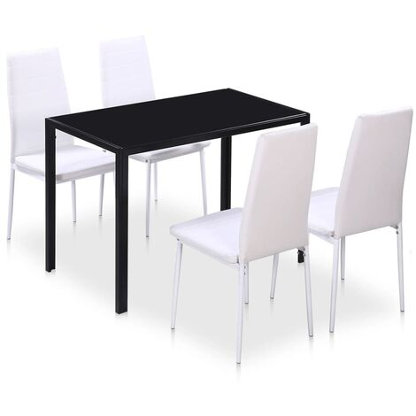 5 Piece Dining Table Set Black and White