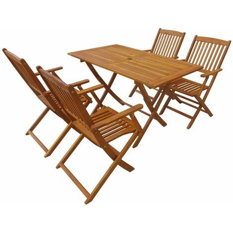 5 Piece Folding Outdoor Dining Set Acacia Wood