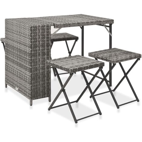 5 Piece Folding Outdoor Dining Set Poly Rattan Grey