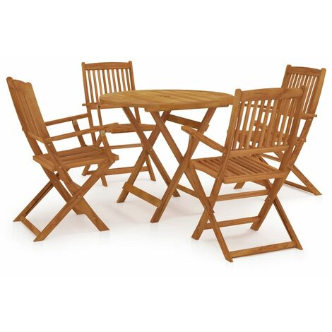 5 Piece Folding Outdoor Dining Set Solid Acacia Wood